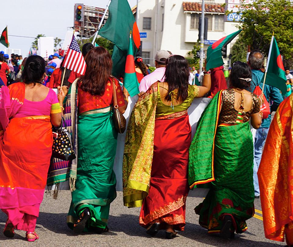 Bangladesh Day Parade, Los Angeles, participants in colorful sharee-sari designs