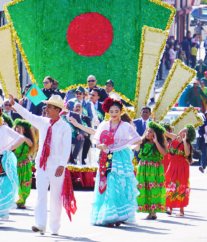 Bangladesh Day Parade-Los Angeles-2019-Mexican Veracruz and Hawaiian-Tahitian style dance groups in front of float with special guests