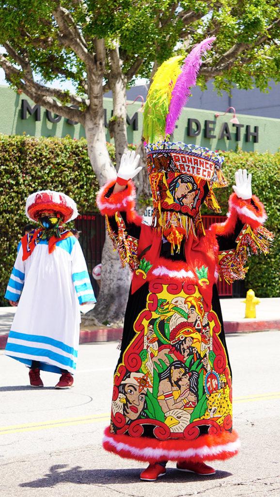 Hollywood Carnival Parade, Los Chinelos dancers-Romance Azteca mythology costume, 06/29/19