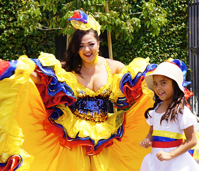 Carolina in Colombian traditional dress and colors, Hollywood Carnival Parade, 06/29/19