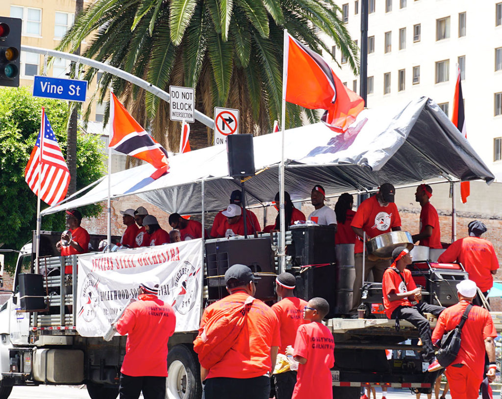Hollywood Carnival Parade, Trinidad and Tobago flags and Success Steel Orchestra, 06/29/19