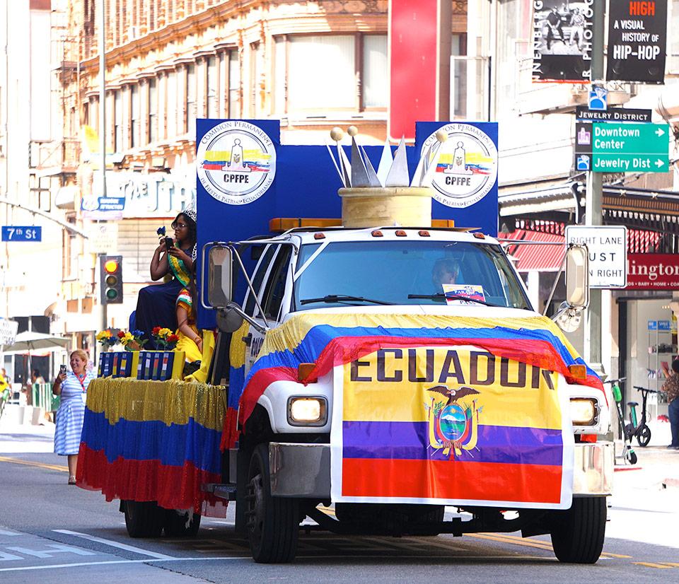Ecuador Parade, Los Angeles, queen float, CPFPE, Comision Permanente de Fiestas Patrias Ecuatorianas, 08/04/19