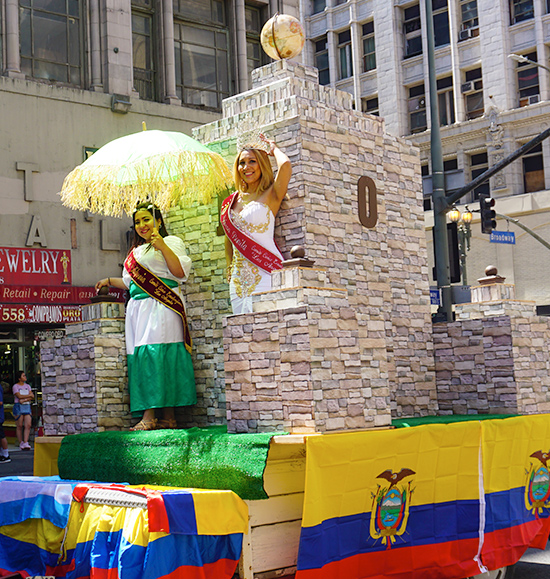 Ecuador Parade-Los Angeles-08/4/19-equator-monument-replica2