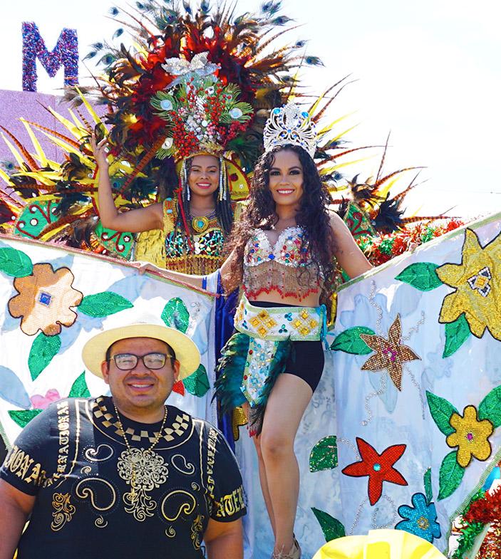 Nixon Yanes, designer and his creations, El Salvador cultural imagery, Hollywood Carnival Parade, 06/20/19
