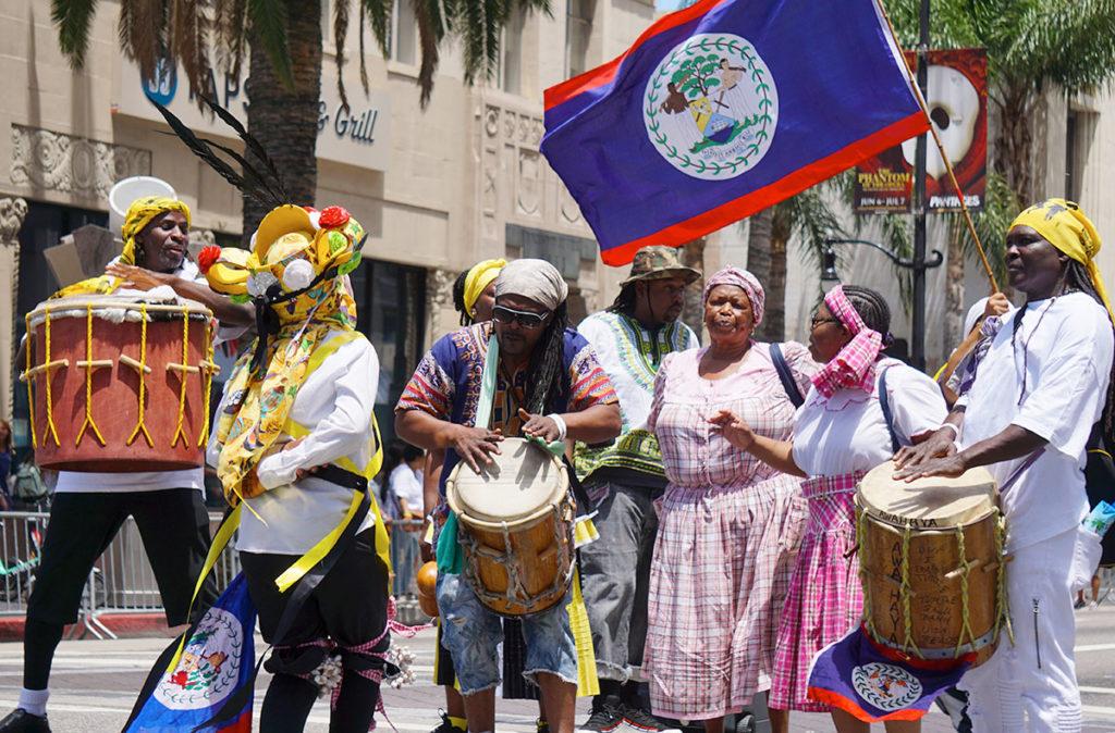 Garifuna and Belize flag, Hollywood Carnival Parade, 06/29/19