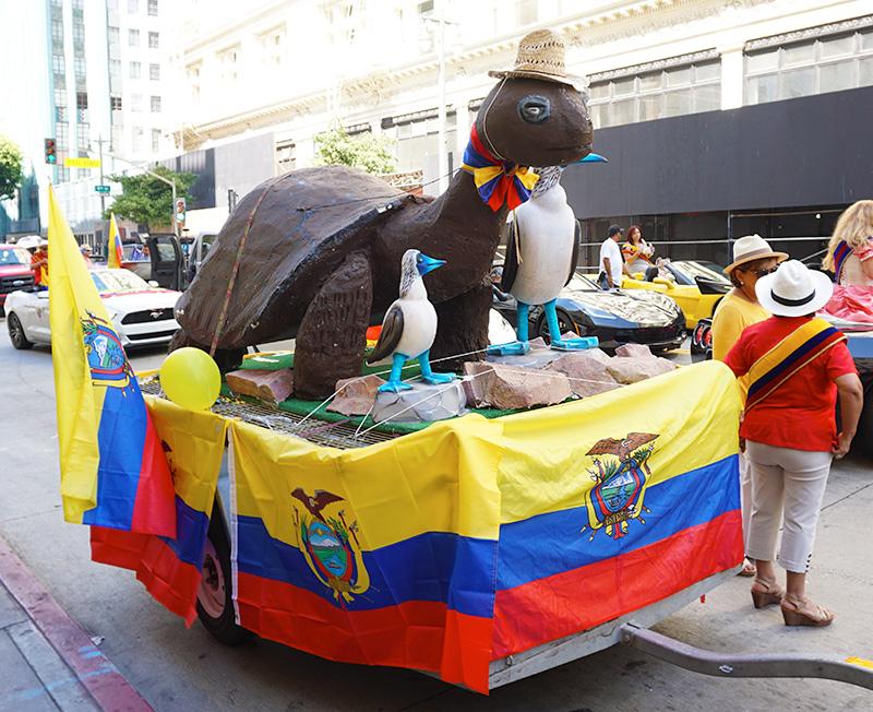 Ecuador Parade, Los Angeles, Comite Civico Ecuatoriano float with George the Tortoise 08/04/19