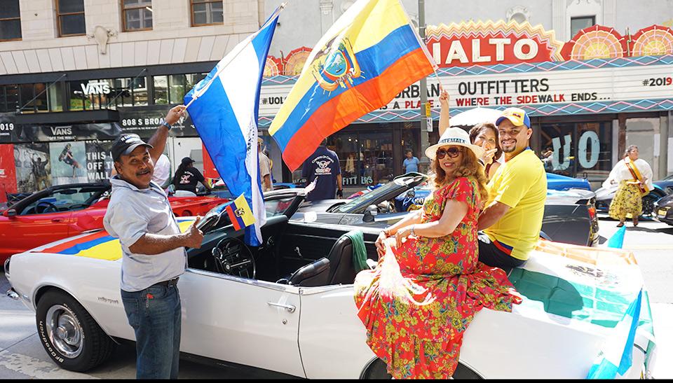 Ecuador Parade, Los Angeles, 08/04/19, Historic Rialto Theater on Broadway, Patty Lopez, and friends in Camaro Rally Sport 327